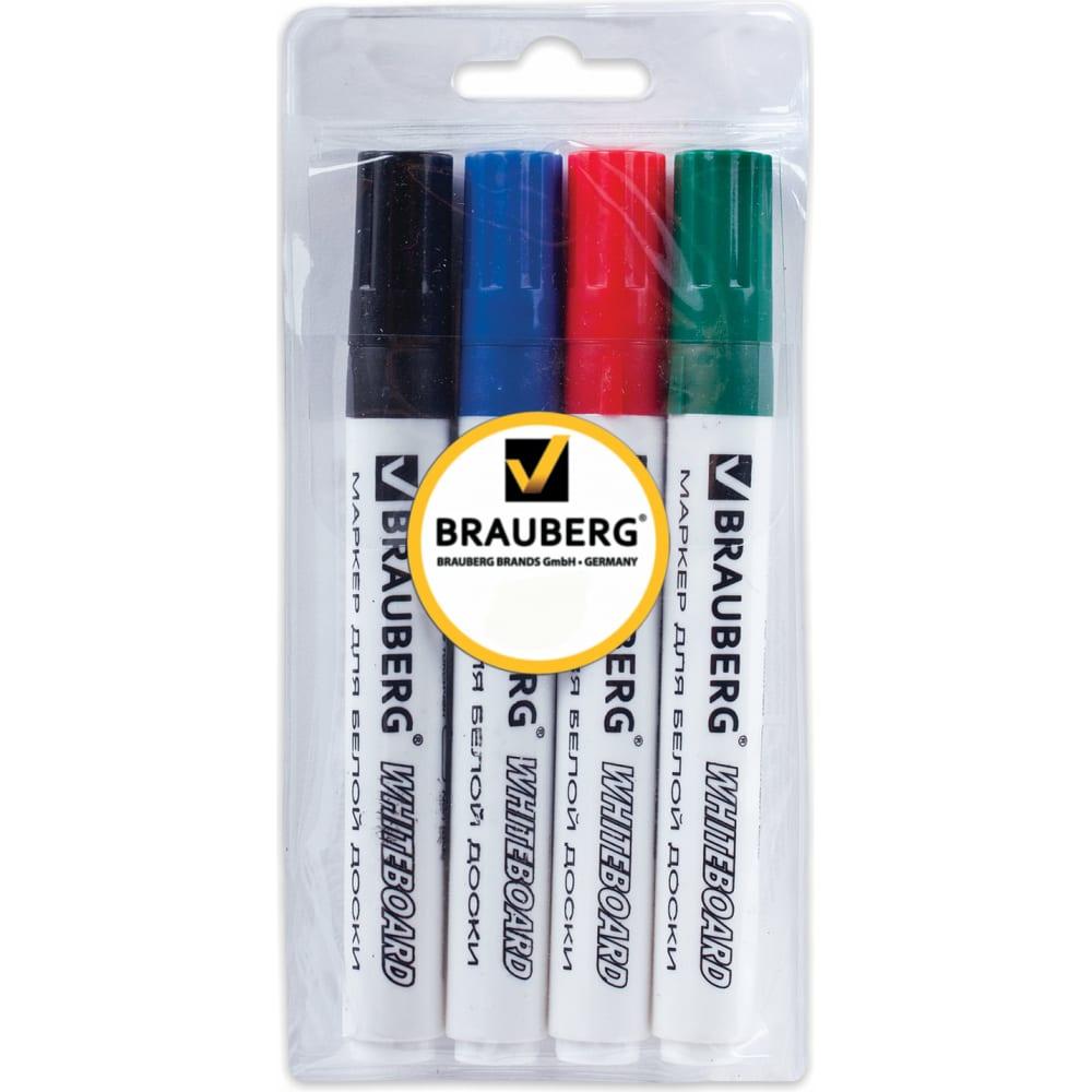 Набор маркеров для доски brauberg 4 шт.,