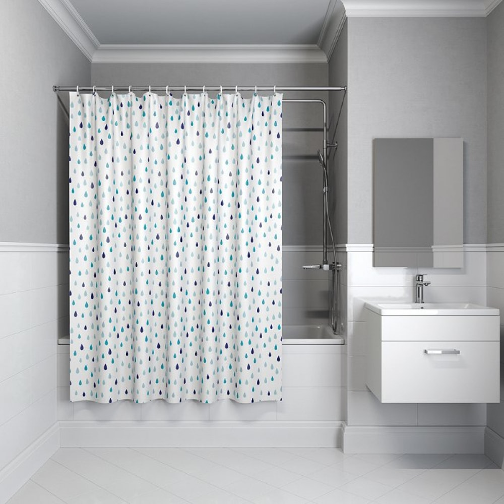 Штора для ванной комнаты iddis, 180*180см, полиэстер,