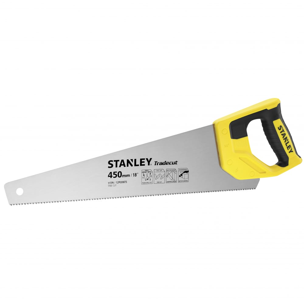 Ножовка stanley tradecut 18in/450mm, 11 tpi stht20355-1