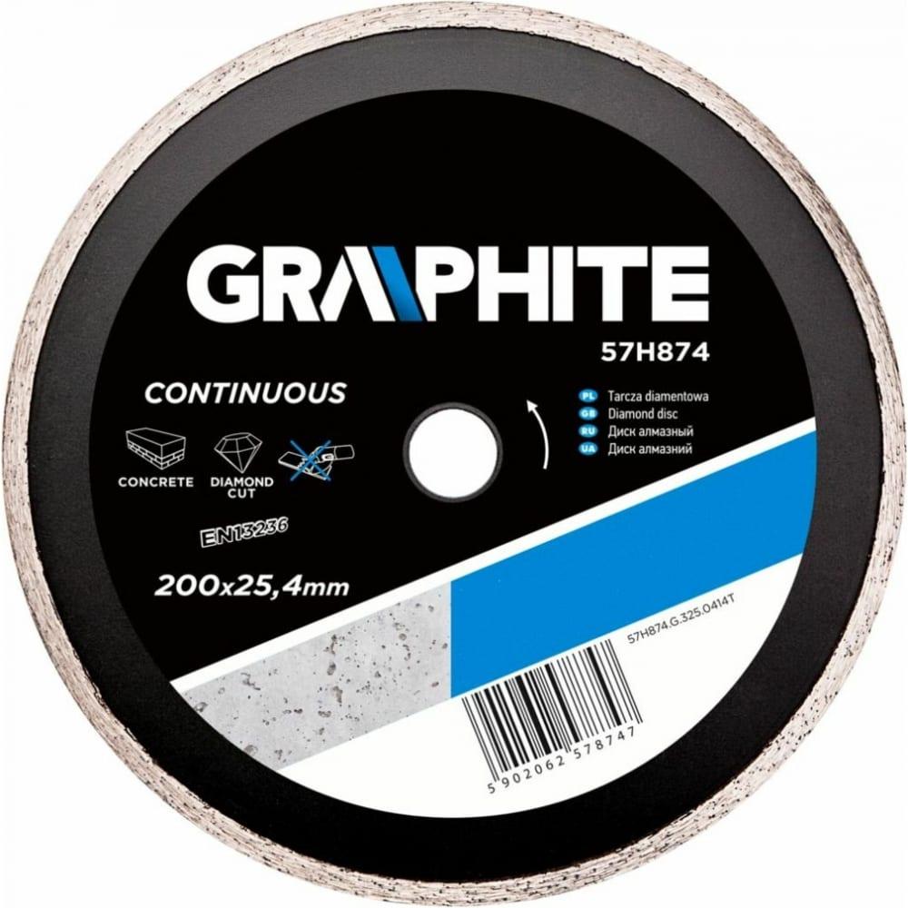 Диск алмазный сплошной по бетону (200x25.4 мм) graphite 57h874  - купить со скидкой