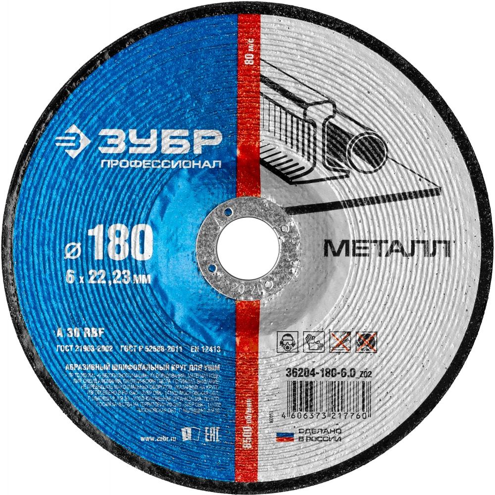 Купить Круг шлифовальный x-2 по металлу (180х6х22.23 мм) зубр 36204-180-6.0_z03