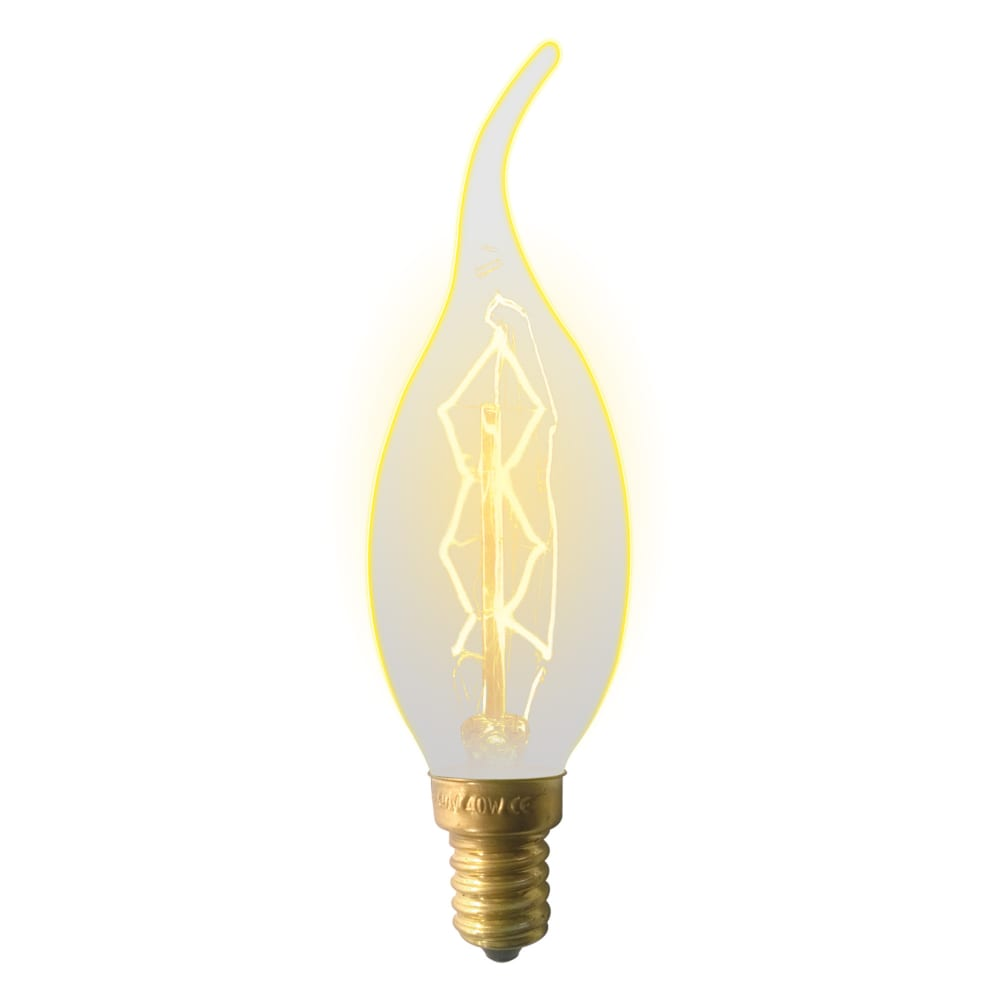 Лампа накаливания uniel il-v-cw35-60/golden/e14 zw01 vintage, свеча на ветру ul-00000483