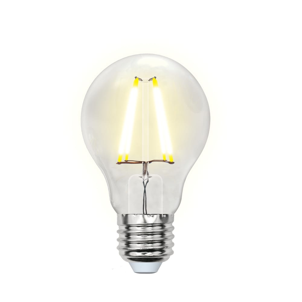 Светодиодная лампа uniel led-a60-8w/ww/e27/cl gla01tr форма a, прозрачная ul-00002210