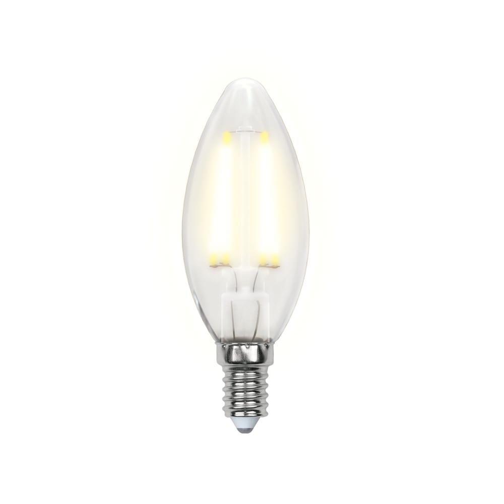 Светодиодная лампа uniel led-c35-6w/ww/e14/fr pls02wh форма свеча, матовая ul-00000305