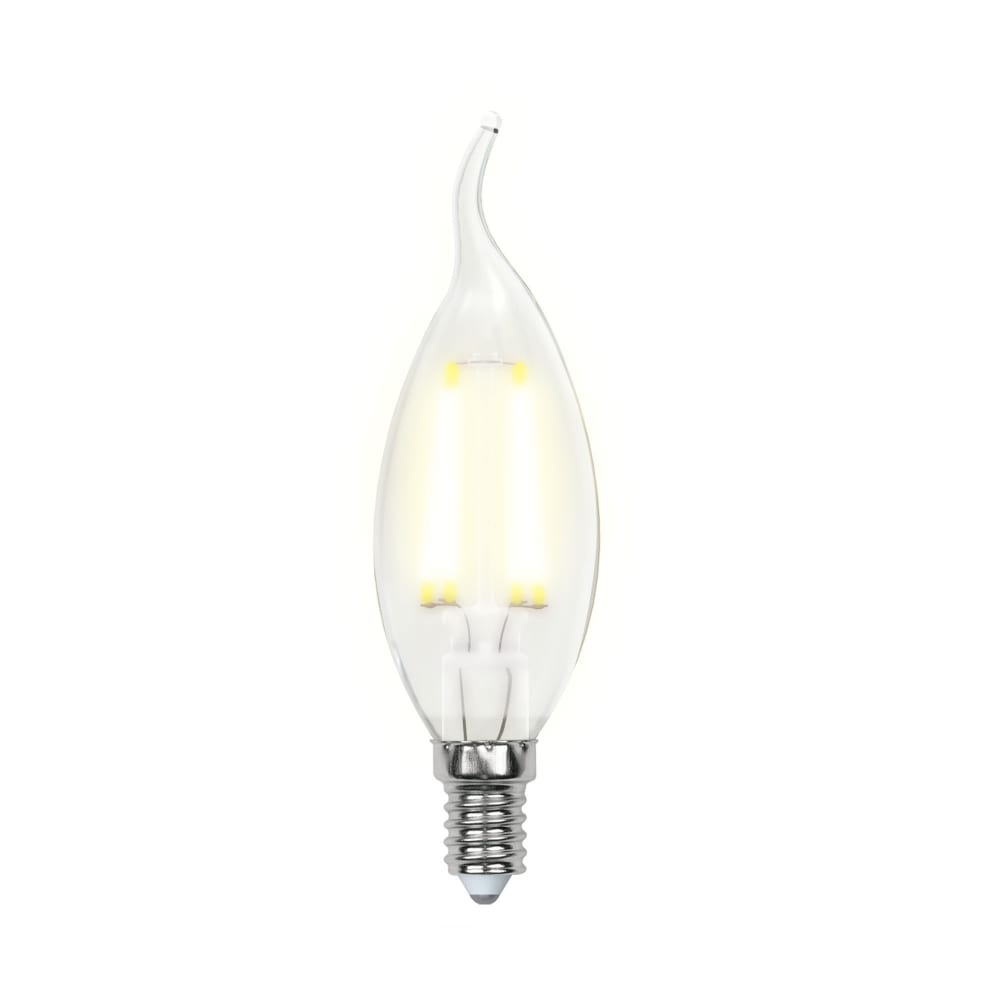 Светодиодная лампа uniel led-cw35-6w/ww/e14/fr pls02wh форма свеча на ветру, матовая ul-00000306