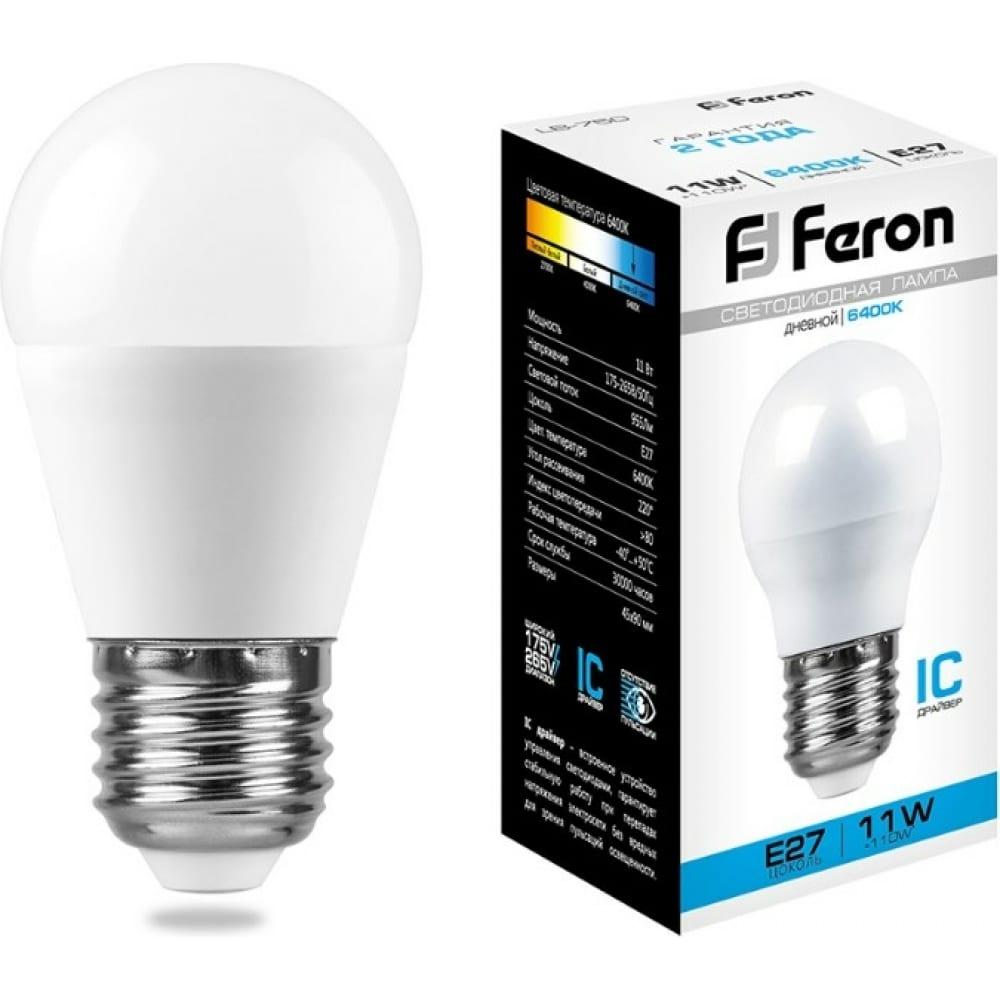 Светодиодная лампа feron 11w 230v e27 6400k, lb-750 25951  - купить со скидкой