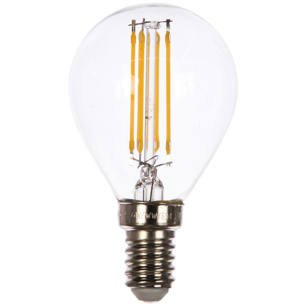 Светодиодная лампа uniel led-g45-6w/ww/e14/cl gla01tr. форма шар, прозрачная. ul-00002201