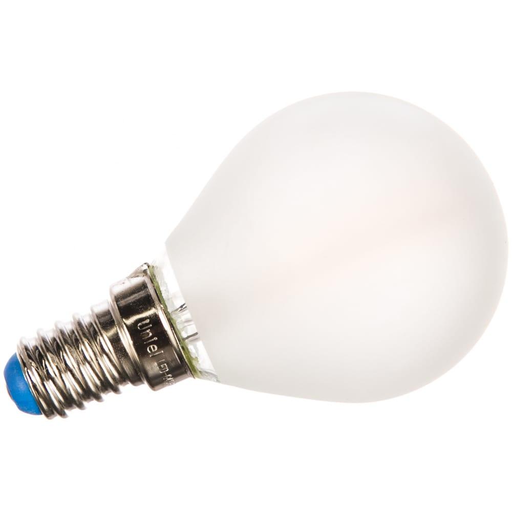 Светодиодная лампа uniel led-g45-6w/ww/e14/fr pls02wh. форма шар, матовая. ul-00000303