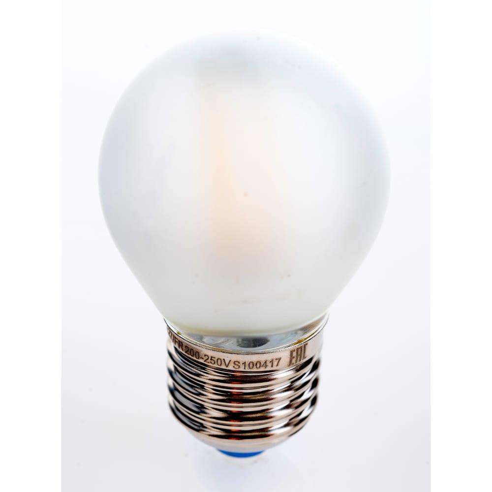 Светодиодная лампа uniel led-g45-6w/ww/e27/fr pls02wh. форма шар, матовая. ul-00000302