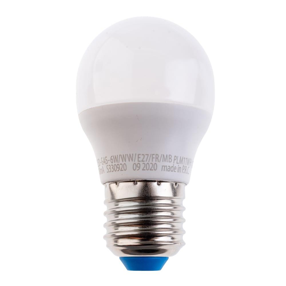 Светодиодная лампа uniel led-g45-6w/ww/e27/fr/mb plm11wh. форма «шар», матовая. ul-00002377