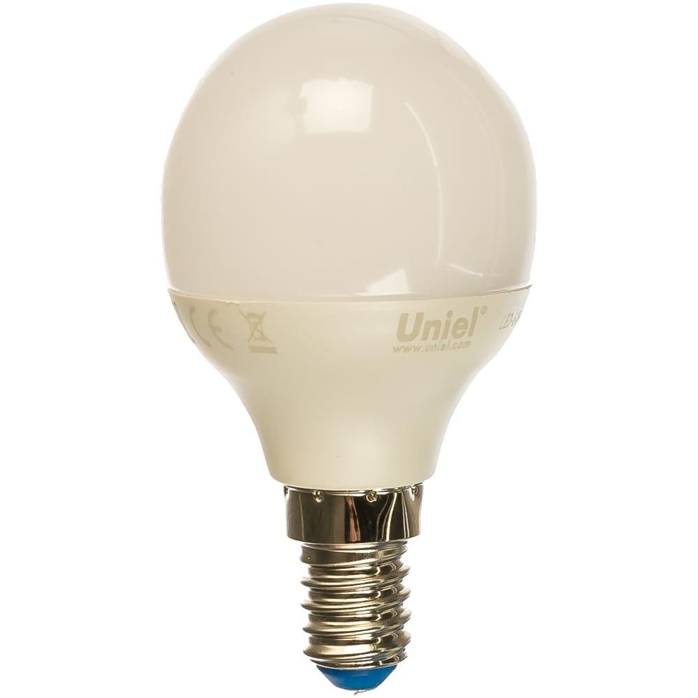 Светодиодная лампа uniel led-g45-6w/ww/e14/fr/mb plm11wh. форма «шар», матовая. ul-00002375