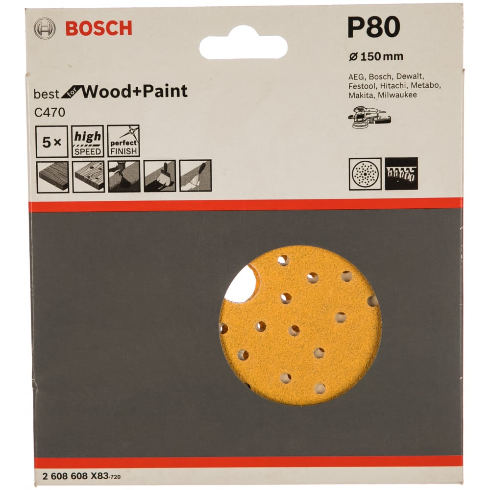 Купить Круги шлифовальные по дереву и краске b.f.w+p multihole (5 шт., 150 мм, k80) bosch 2608608x83