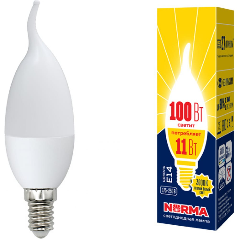 Светодиодная лампа volpe led-cw37-11w/ww/e14/fr/nr. форма свеча на ветру, матовая. ul-00003817