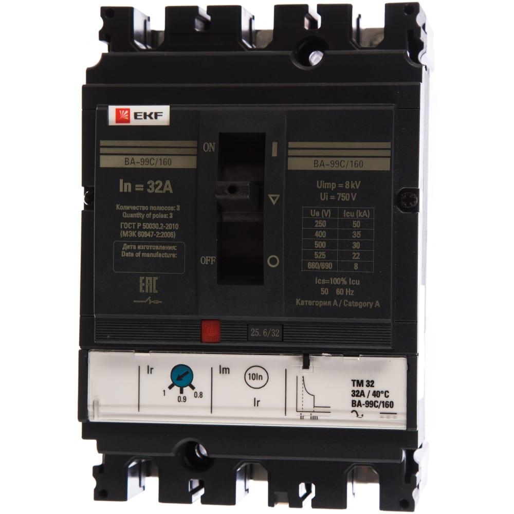 Автоматический трехполюсный выключатель ekf ва-99c 160/32а 36ка mccb99c-160-32