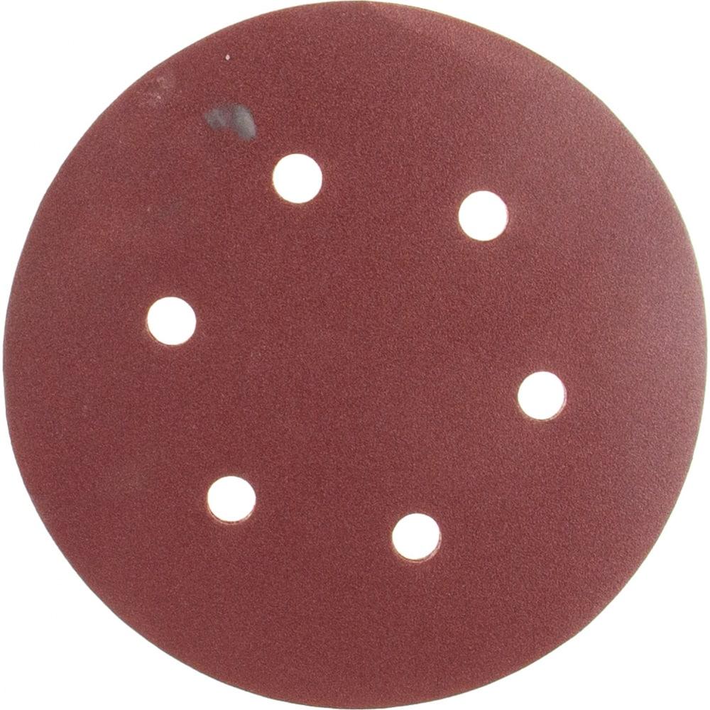 Купить Круг шлифовальный на липучке, по дереву и металлу (6 отверстий, 150 мм, p180, 5 шт.) elitech 1820.099300