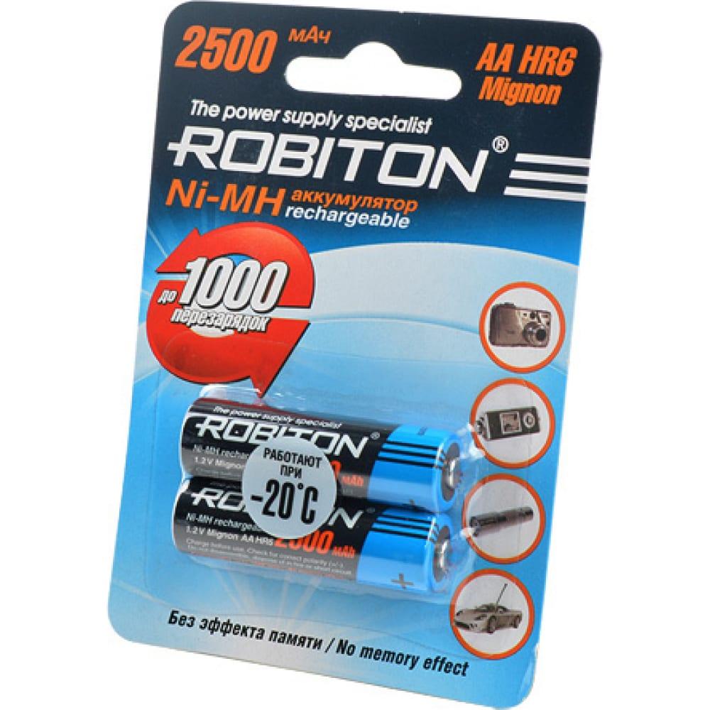 Аккумулятор robiton 2500mhaa-2 bl2 (2шт) 8793  - купить со скидкой