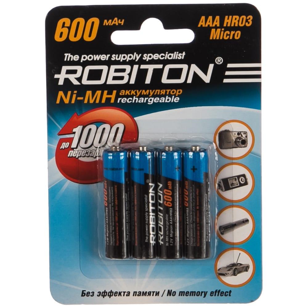 Аккумулятор robiton 600mhaaa-4 bl4 (4 шт.) 8795  - купить со скидкой