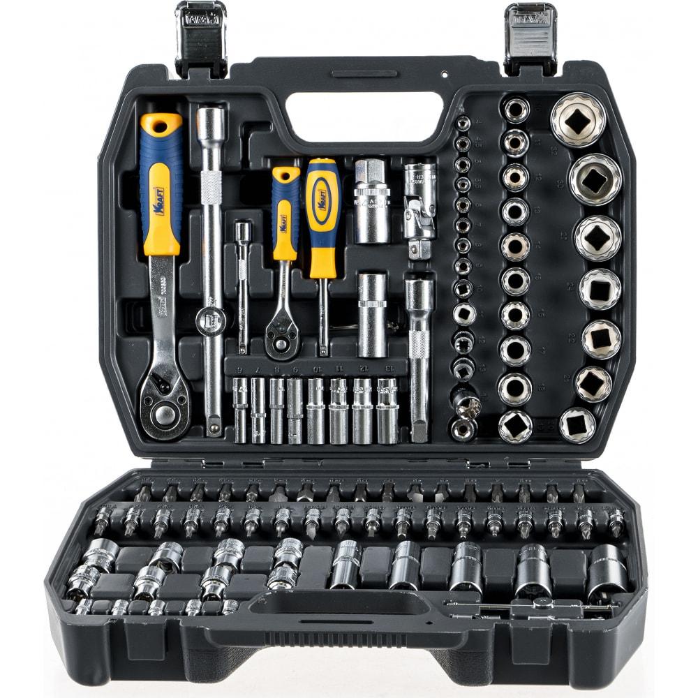 Набор инструмента 1/2 dr и 1/4 dr 108 предметов с 12 гранными головками kraft kt 700680.