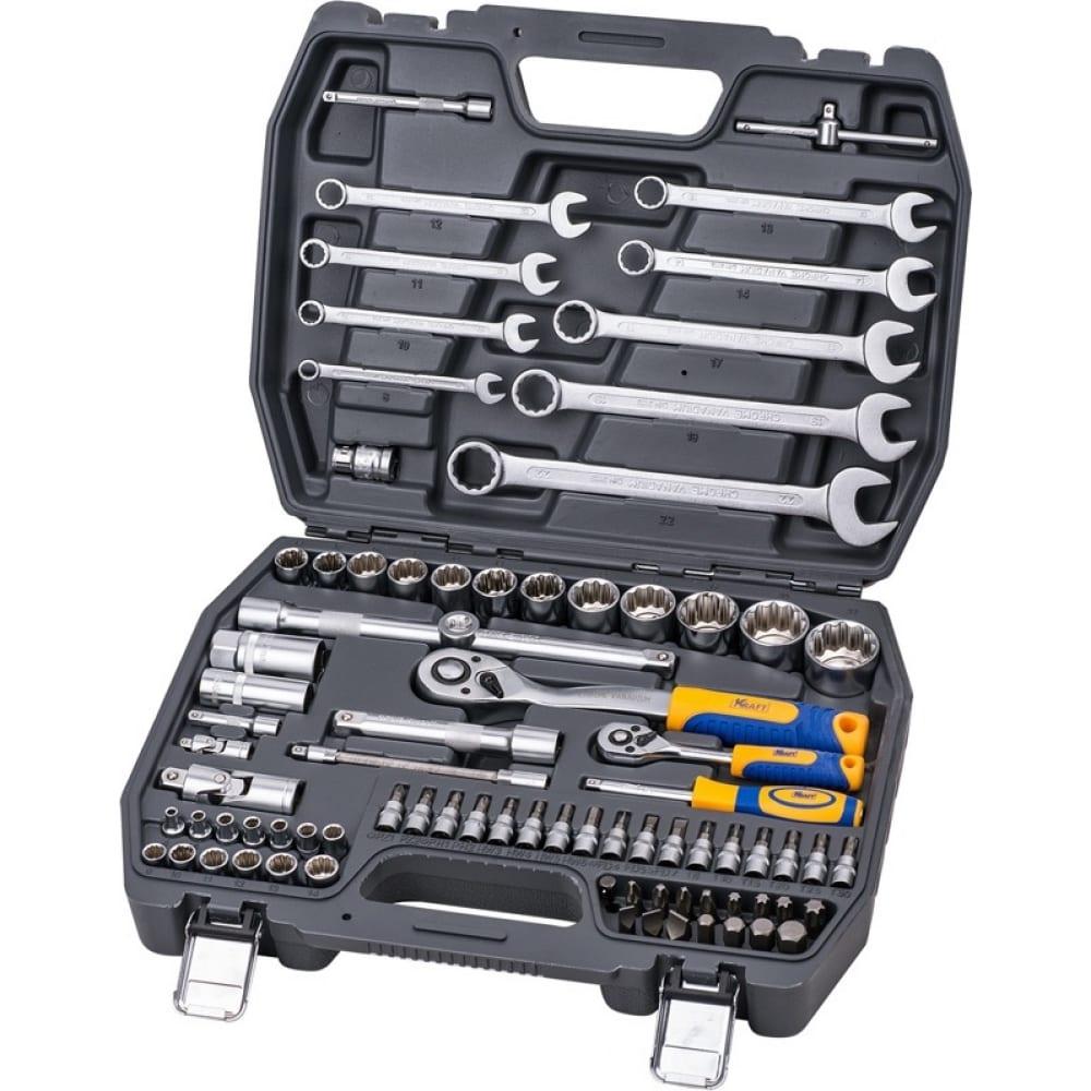 Набор инструмента 1/2 dr и 1/4 dr 82 предметов с 12 гранными головками kraft kt 700681.