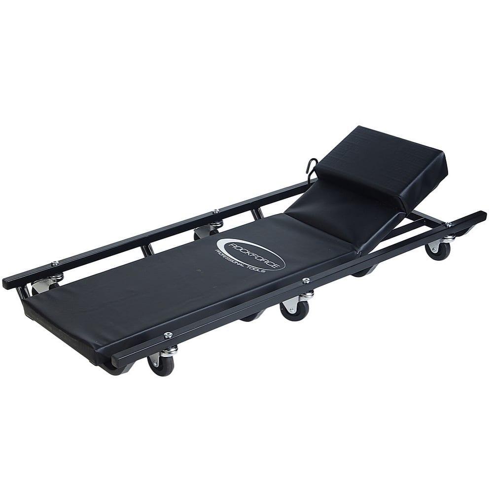 Купить Ремонтный подкатной лежак на 6-ти колесах с регулируемым подголовником rockforce 425х125мм rf-tr6452
