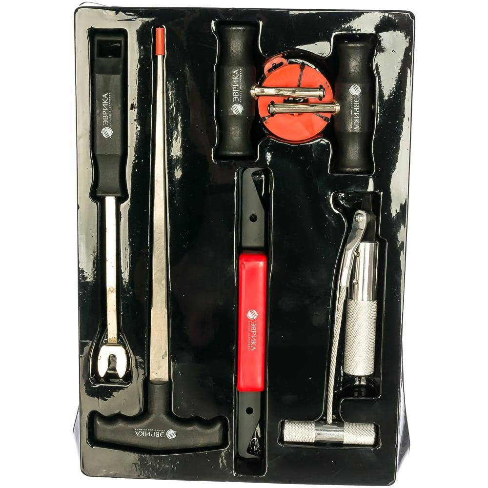 Набор для демонтажа стекол нож, струна, держатели, шило, съемник пистонов эврика er-86079