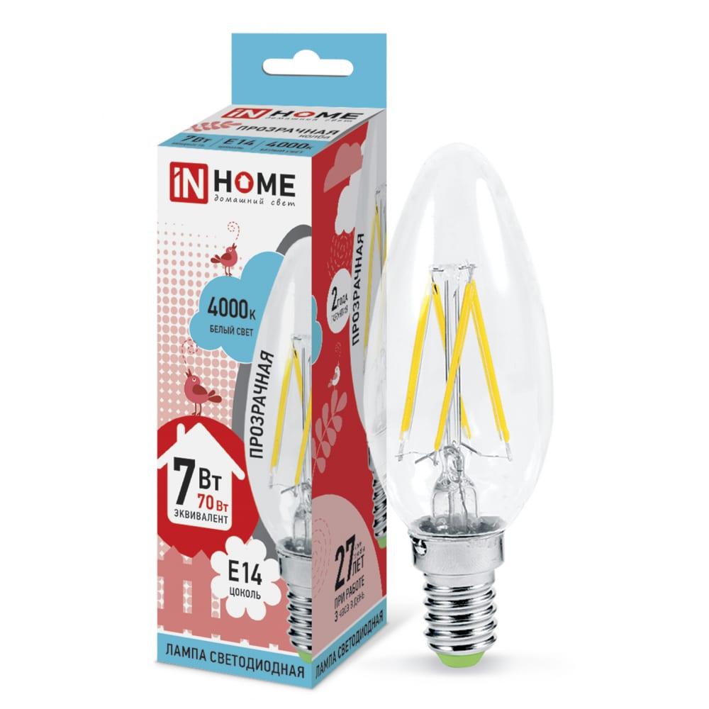 Купить Светодиодная лампа in home led-свеча-deco 7вт 230в е14 4000к 630лм прозрачная 4690612007618
