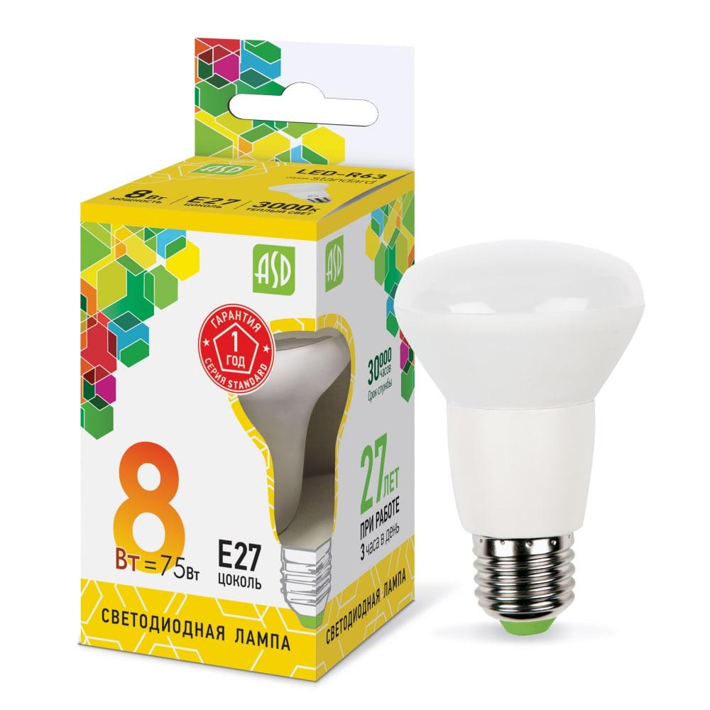 Купить Лампа asd сд led-r63-std 8вт 230в е27 3000к 720лм 4690612001616