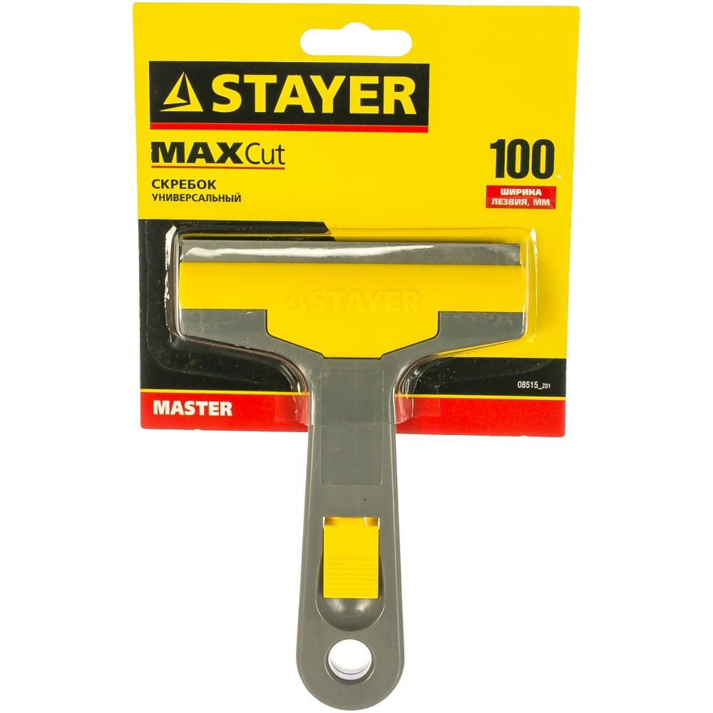 Универсальный скребок stayer master пластмассовый корпус, 100мм 08515_z01