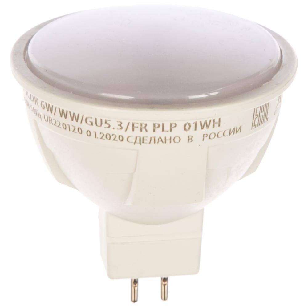 Светодиодная лампа uniel форма jcdr серия яркая led-jcdr 6w/ww/gu5.3/fr plp01wh ul-00002424