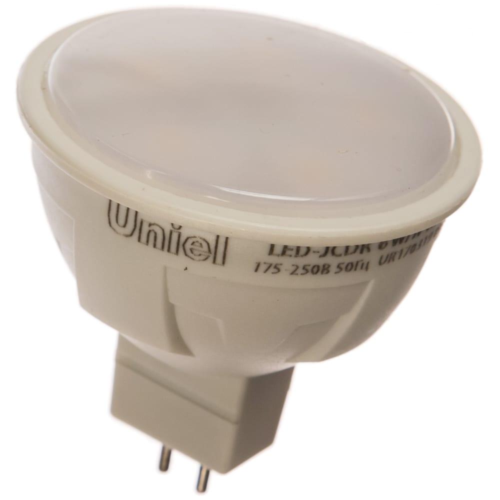 Светодиодная лампа uniel форма jcdr, матовая. серия яркая led-jcdr 6w/nw/gu5.3/fr plp01wh ul-00002422