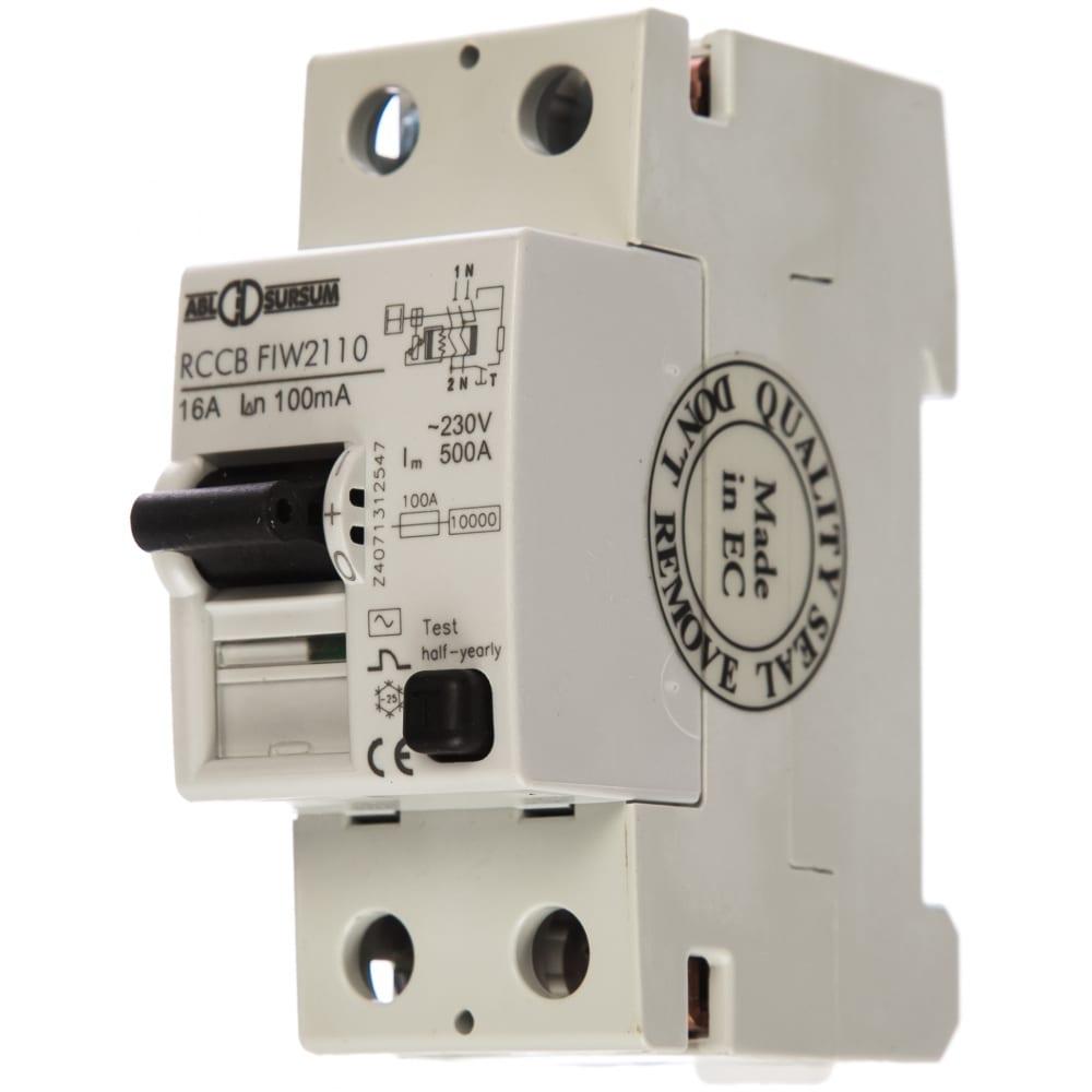 Устройство защитного отключения abl узо 2p 16 a 100 мa, тип аc fiw2110 rw2110