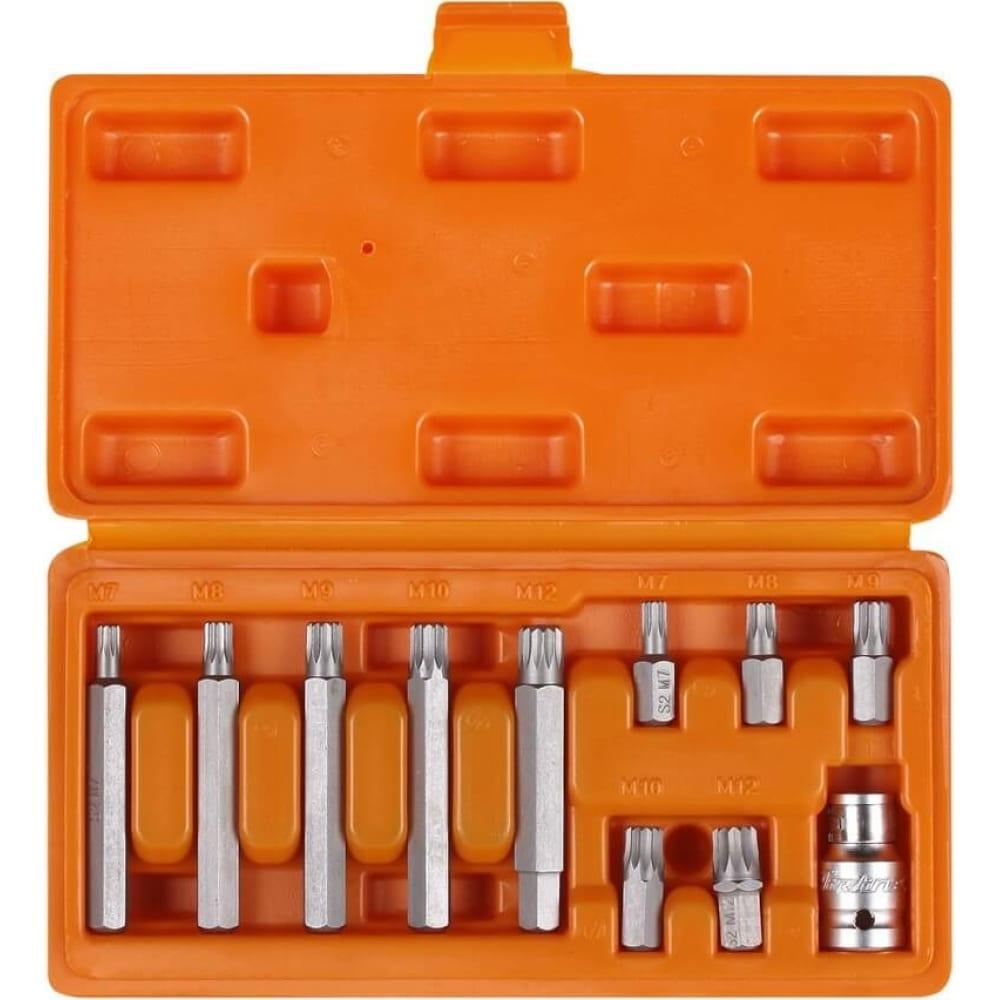 Купить Набор бит вставок ribe (3/8 30 мм и 75мм + держатель бит 1/2 dr, 11 шт.) airline at-b-51