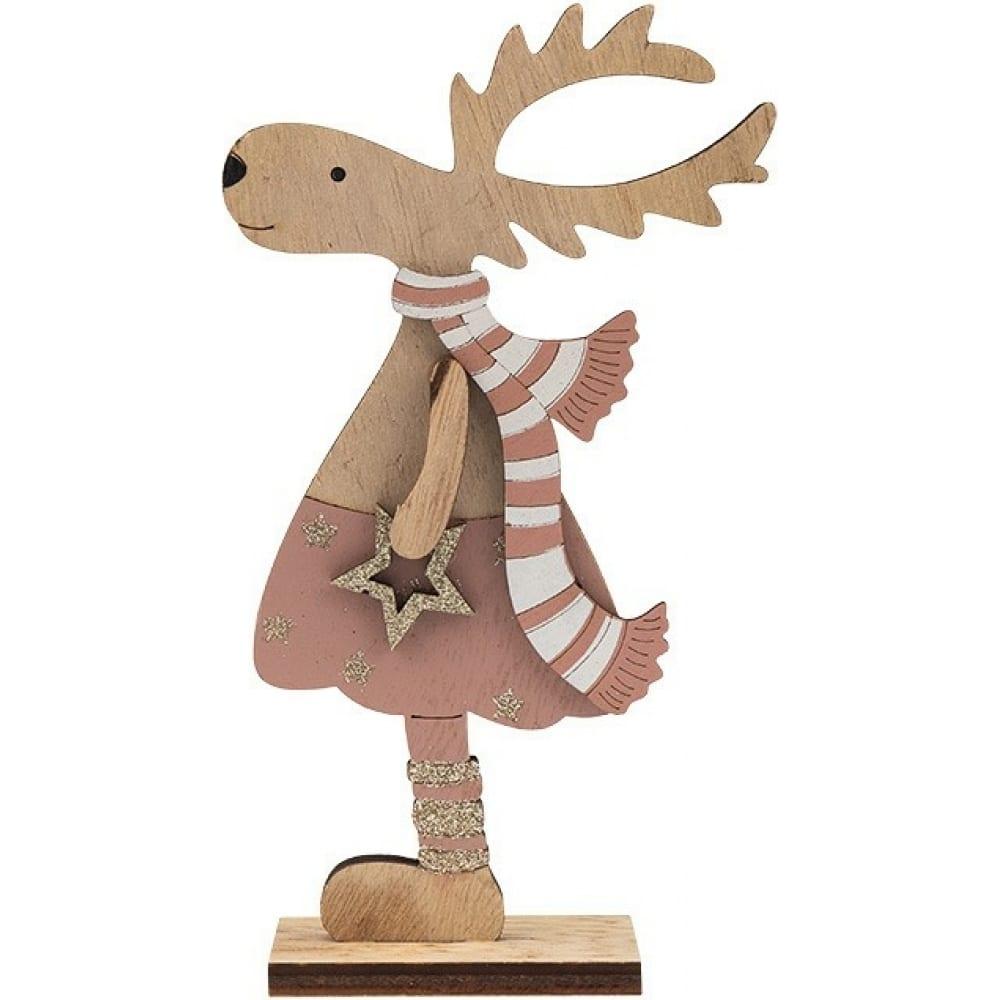 Купить Деревянная фигурка neon-night рождественский олень 10.5x4x18 см, розовый 504-006