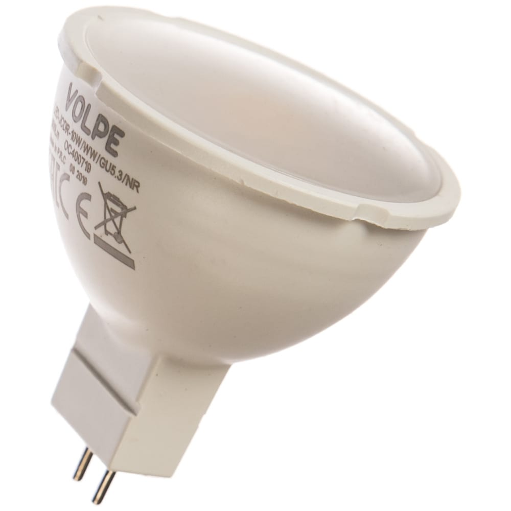 Светодиодная лампа volpe. форма jcdr, матовая. серия norma led-jcdr-10w/ww/gu5.3/nr ul-00003843