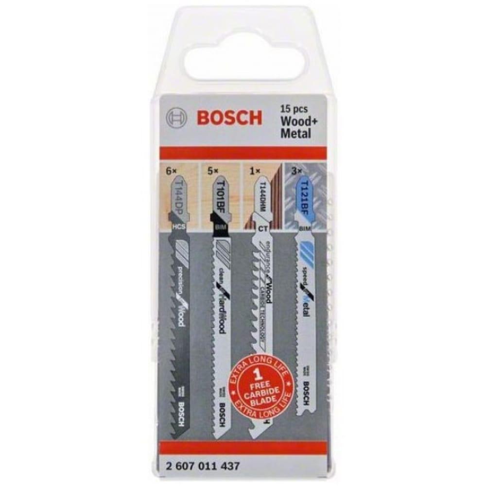 Купить Набор пилок для лобзика по дереву и металлу (15 шт.) bosch 2607011437