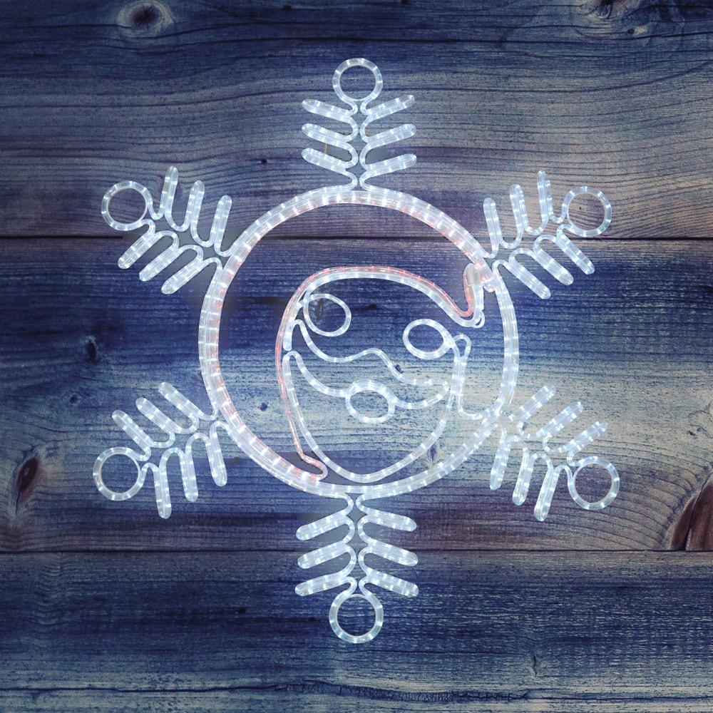 Купить Светодиодная фигура neon-night снежинка с дедом морозом, 107х95см 501-339