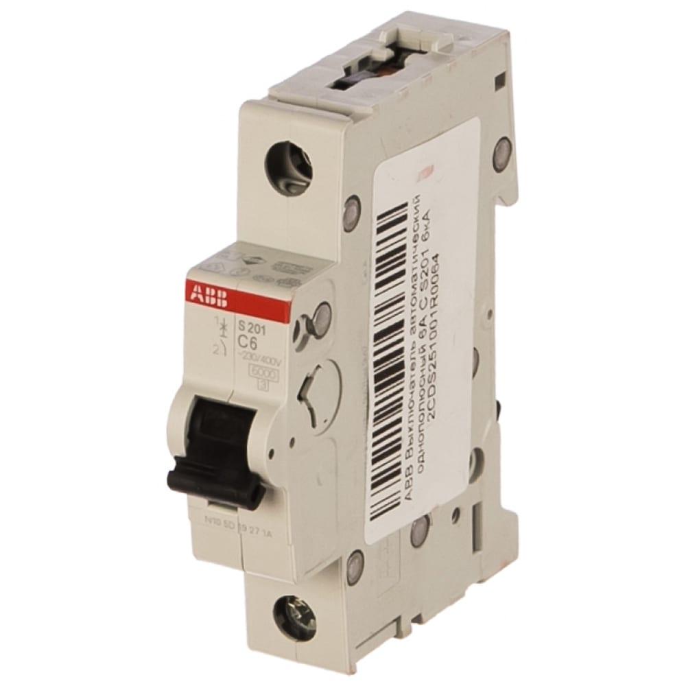 Автоматический однополюсный выключатель abb 6а с s201 6ка 2cds251001r0064.