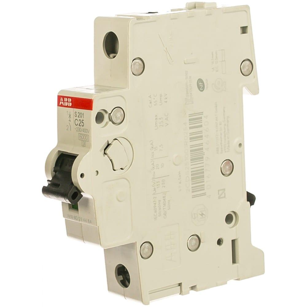 Автоматический однополюсный выключатель abb 25а с s201 6ка 2cds251001r0254.