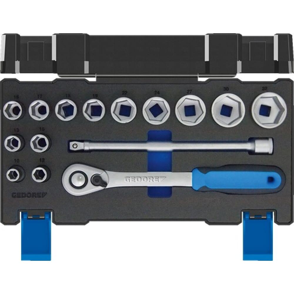 Набор насадок 1/2 15-ть предметов торцевые головки от 10 до 32 мм gedore 3014347.