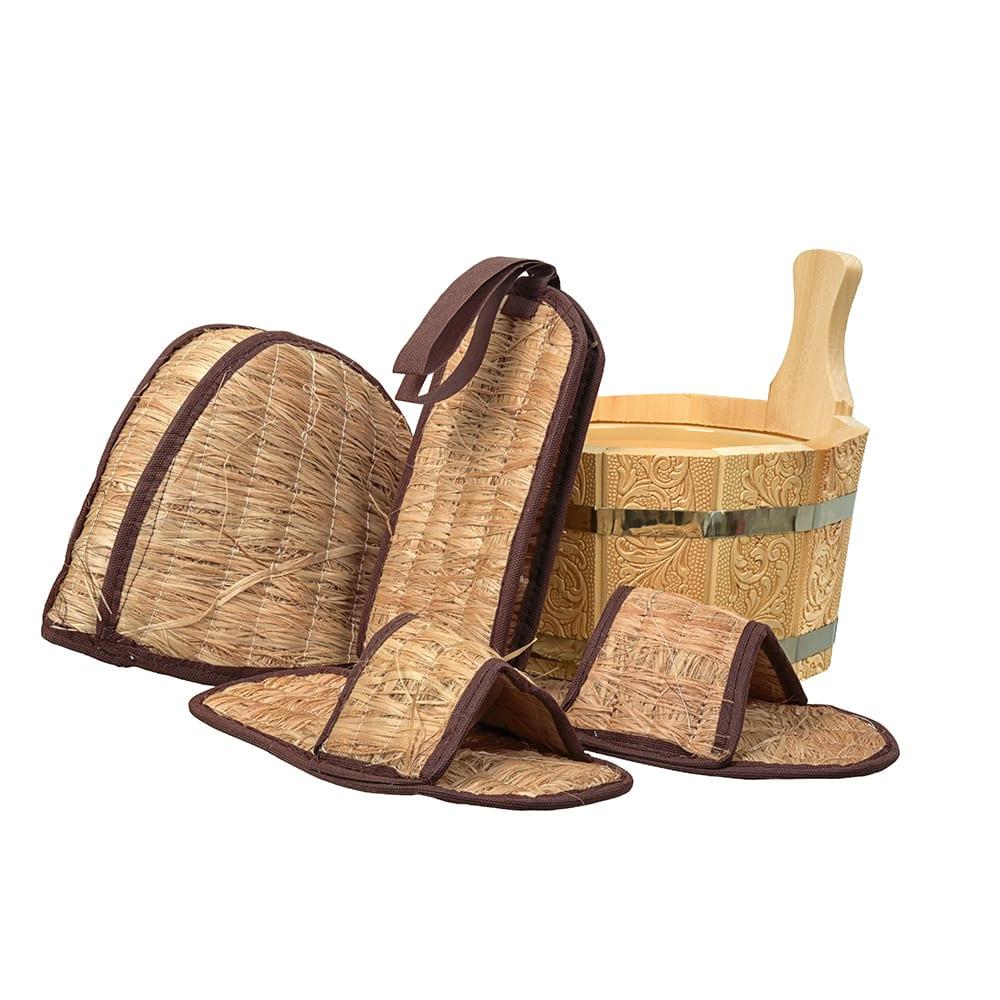 Купить Подарочный набор банные штучки бодрый пар 4 предмета: ушат, шапка, тапочки, мочалка 41315