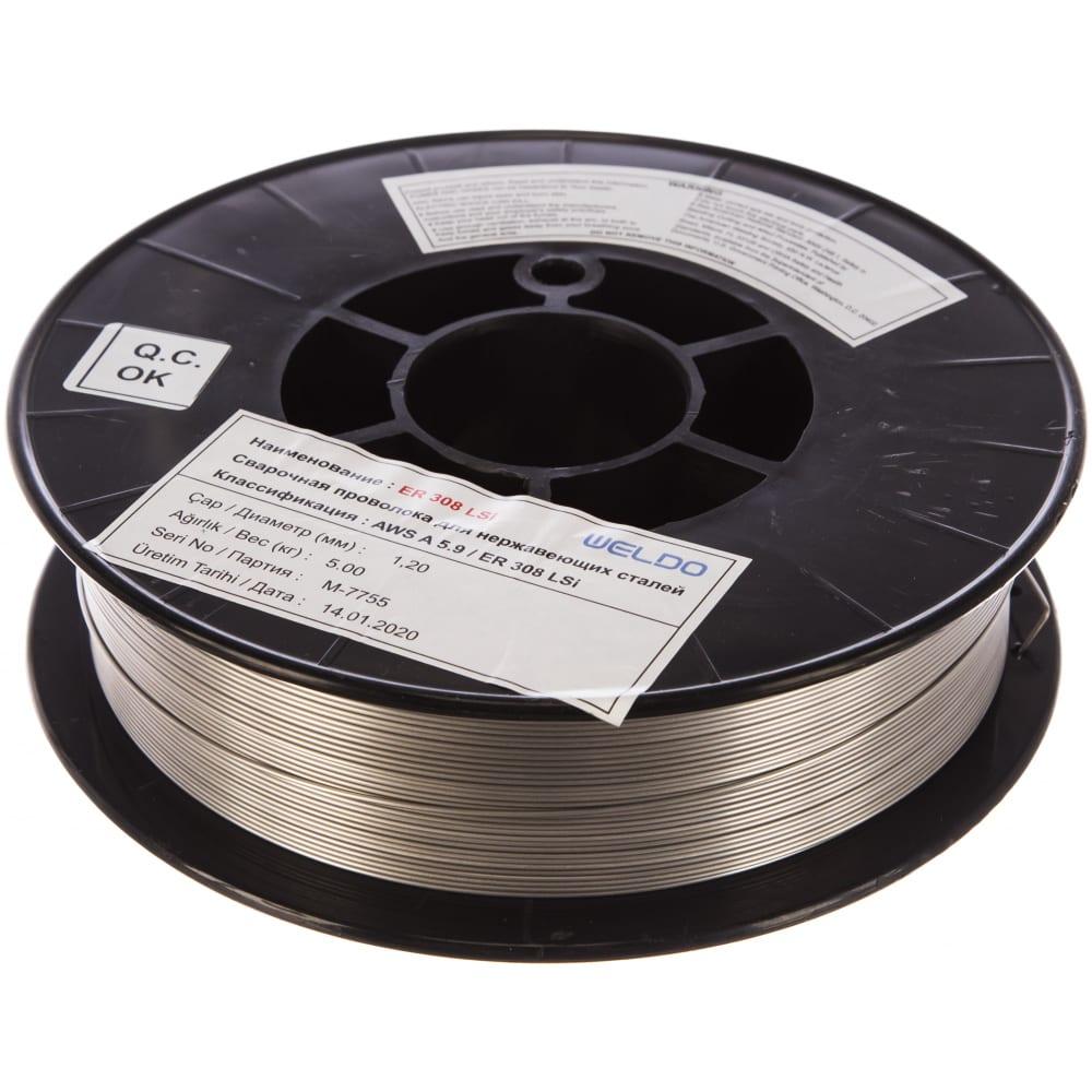 Проволока сварочная нержавеющая er 308lsi (5 кг; 1.2 мм) weldo x3962