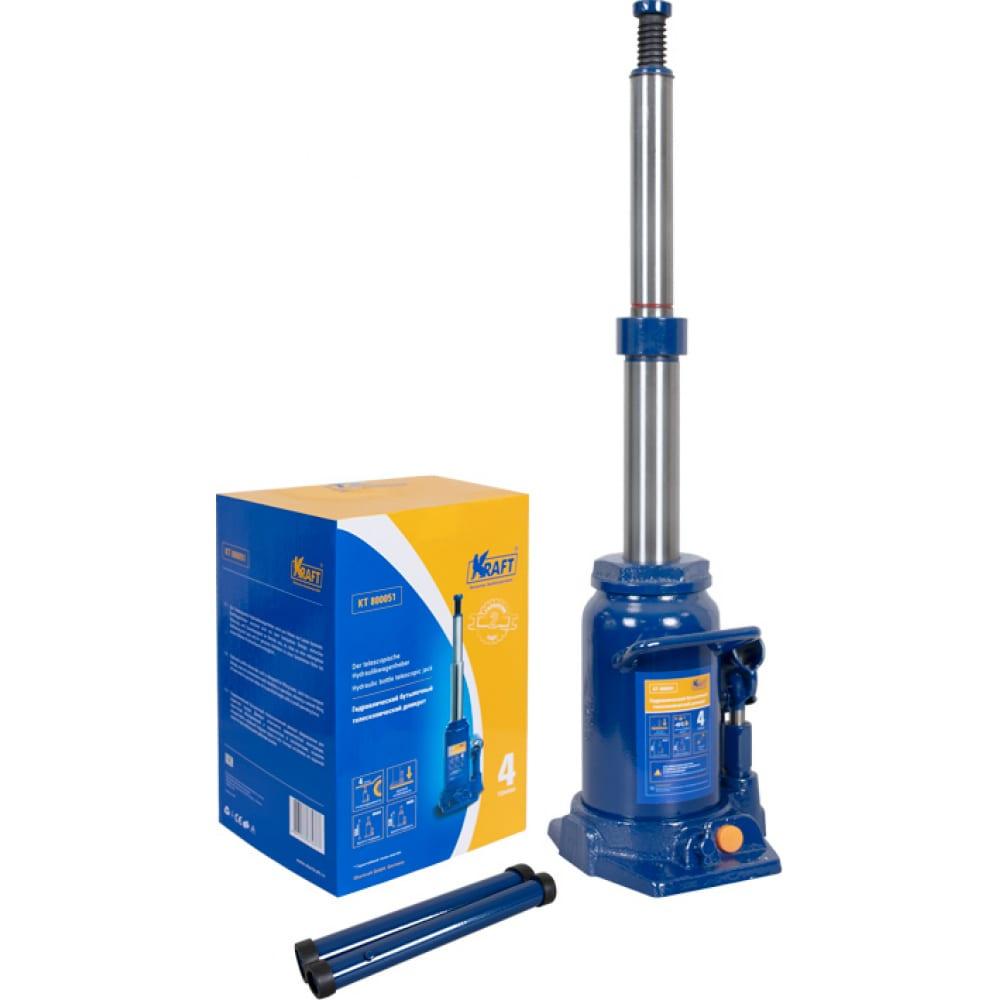 Купить Бутылочный телескопический домкрат kraft 4t 230-550mm kt 800051