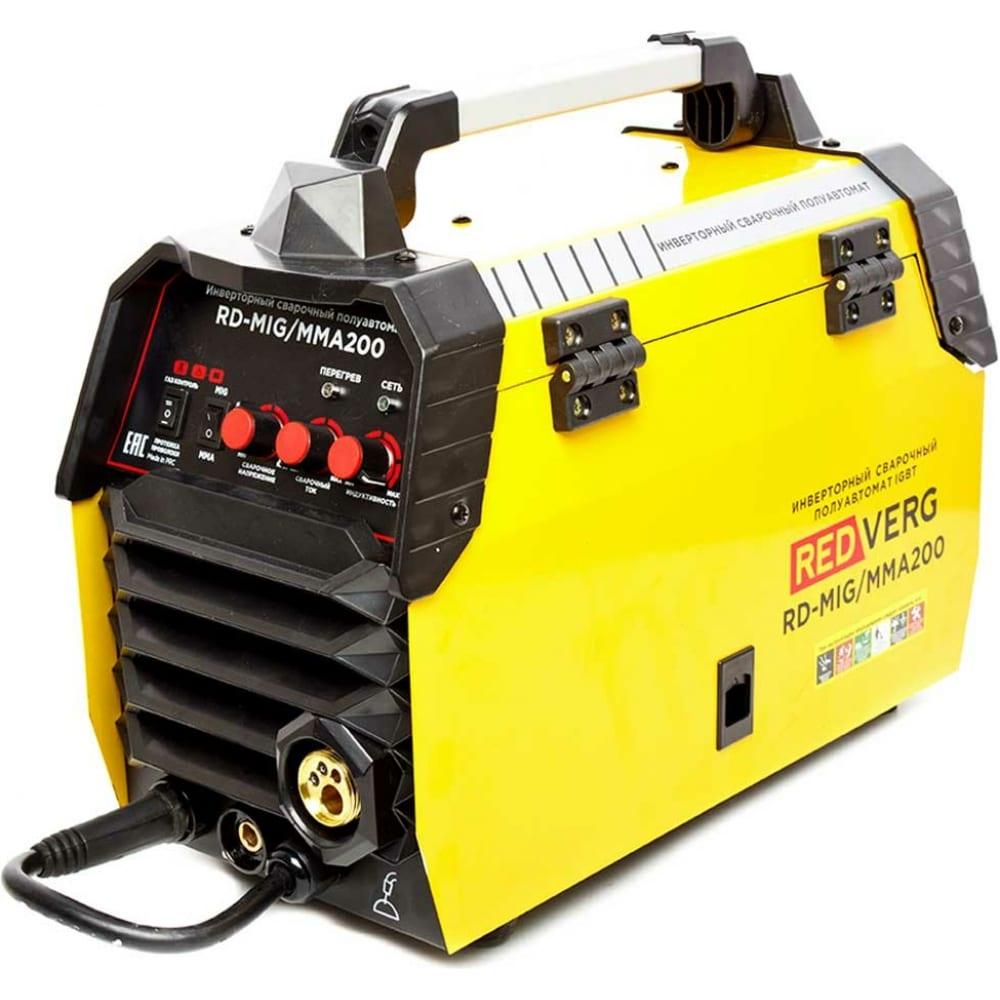 Купить Сварочный бестрансформаторный аппарат redverg rd-mig/mma200, полуавтомат 6632723