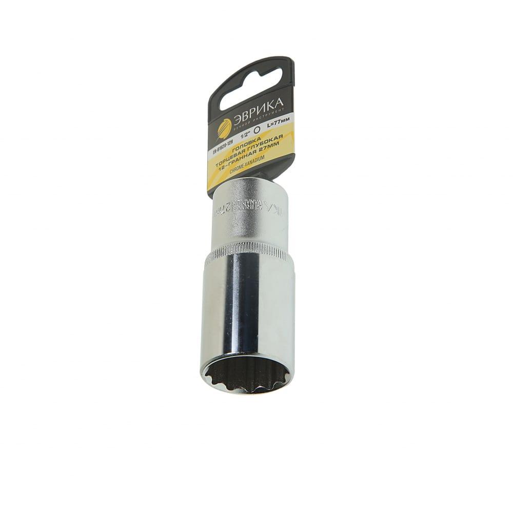 Купить Головка торцевая 12-гранная глубокая (27 мм; 80 мм; 1/2 ) с держателем эврика er-91520-12h