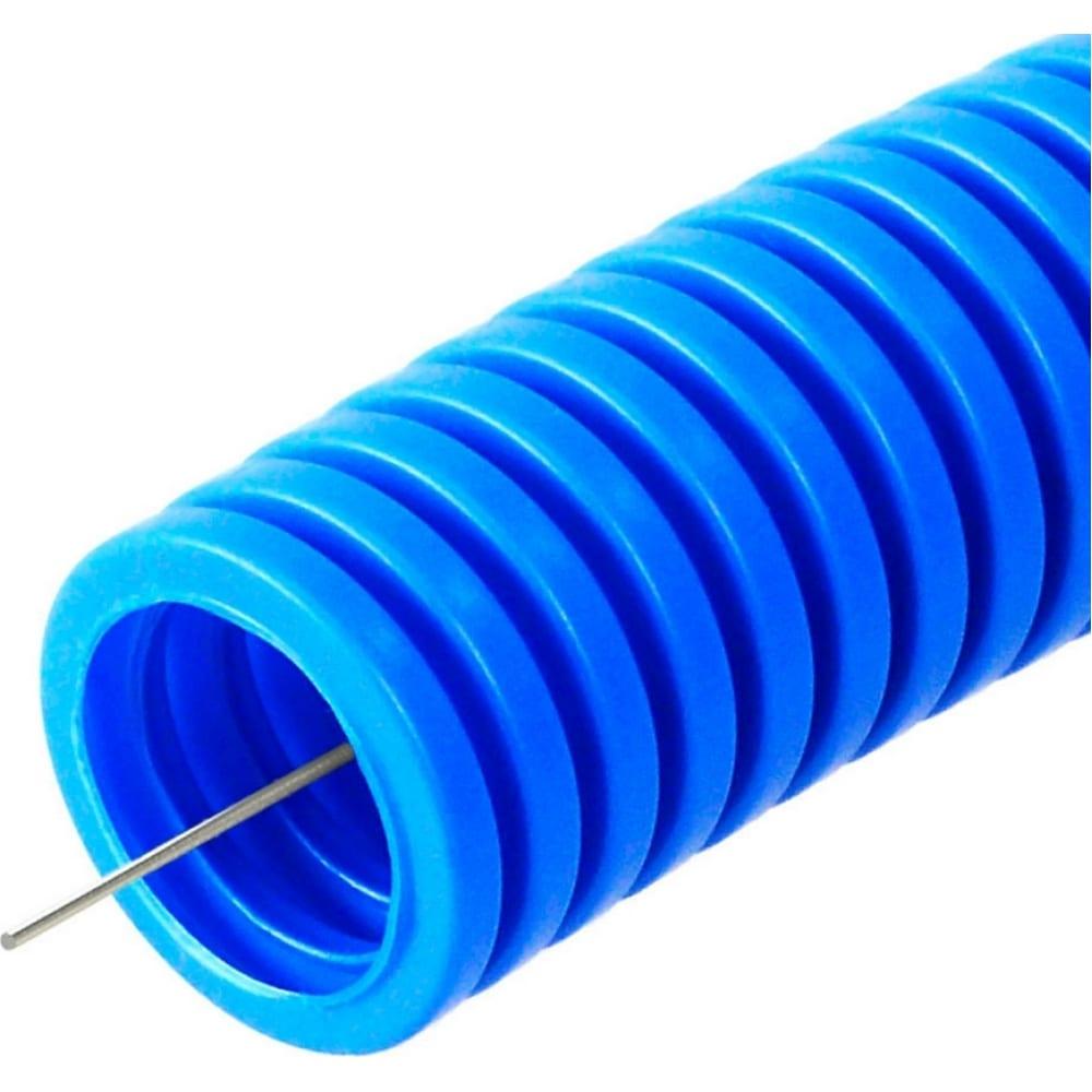 Купить Гофрированная труба промрукав пп лёгкая 350 н не распространяющая горение синяя д25 50м pr02.0077