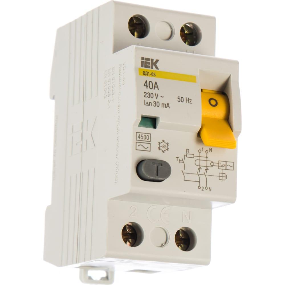 Выключатель дифференциального тока iek 2п 40a 30ma тип ac вд1-63 иэк mdv10-2-040-030