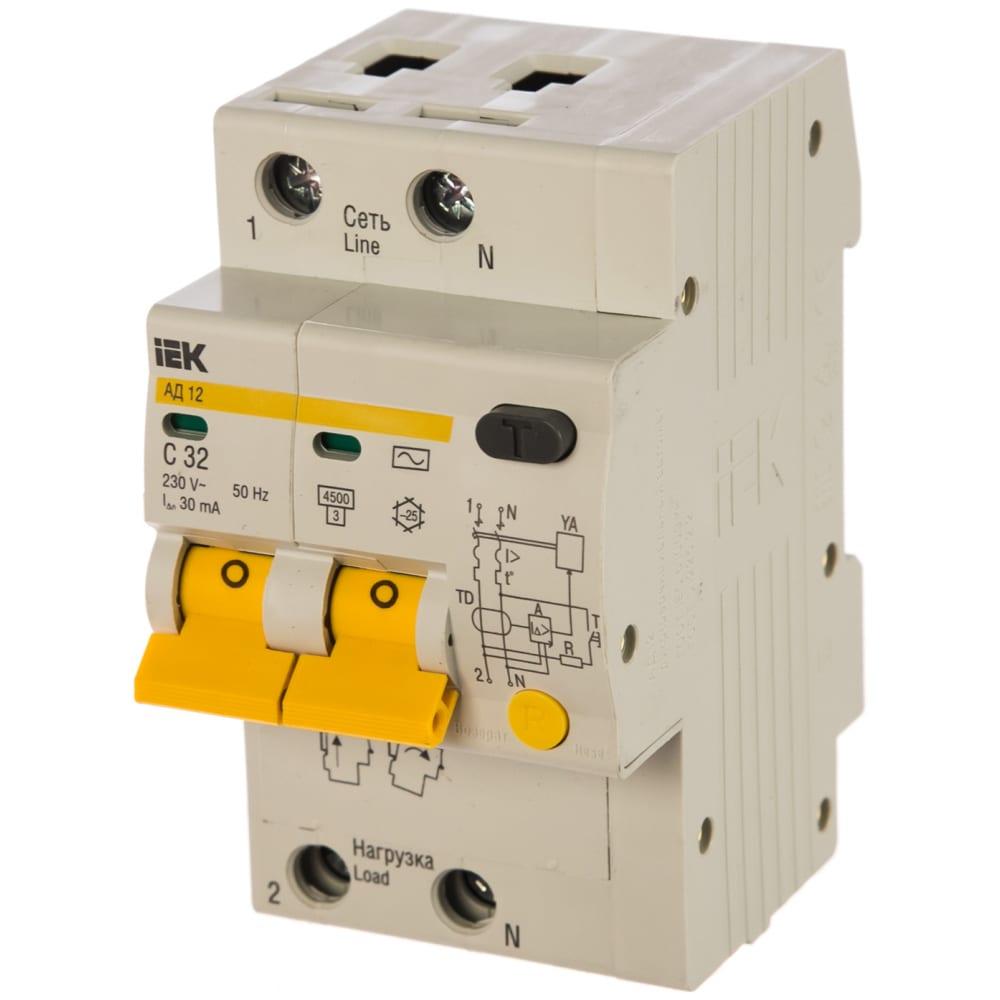 Автоматический выключатель дифференциального тока iek 2п 3.5мод. c 32a 30ma тип ac 4.5ka ад-12 иэк mad10-2-032-c-030