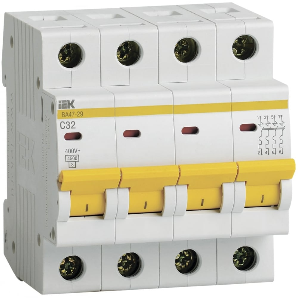 Автоматический модульный выключатель iek 4п c 32а ва 47-29 4.5ка иэк mva20-4-032-c.