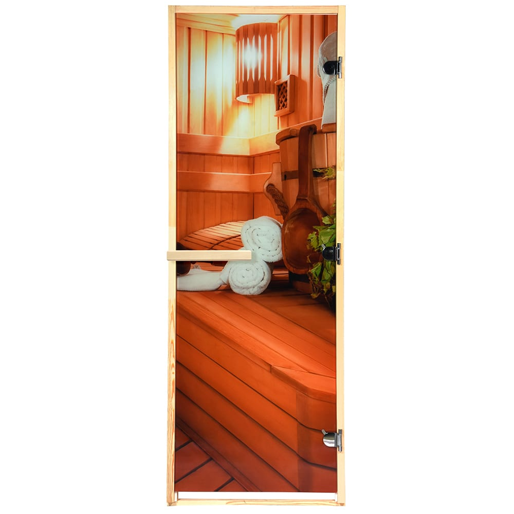 Дверь из стекла с фотопечатью банные штучки
