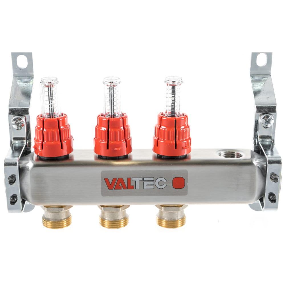 Купить Коллекторная группа со встроенными расходомерами valtec в сборе, 1х3 выходов, евроконус 3/4 vtc.586.emnx.0603
